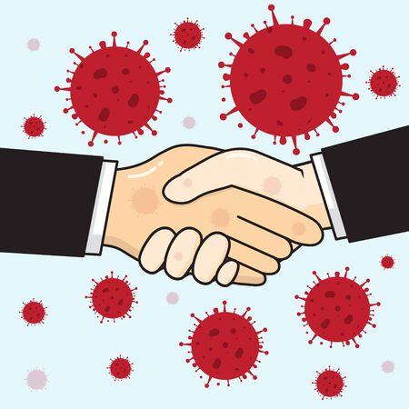 Coronavirus infection by a handshake.vector cartoon design.