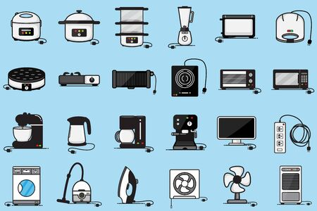 Household electrical appliances group vector design for business.