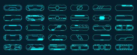 30 Frame futuristic interface hud elements set vector design. Ilustração