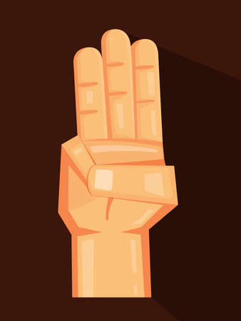 Three fingers up a cartoon on the Brown background. Vector design