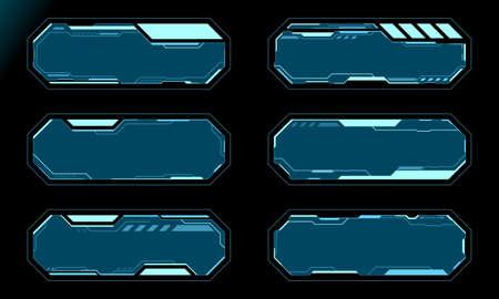 Blue octagon frame set technology future interface hud vector design