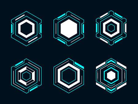 Hexagon futuristic frame hud. Abstract geometric shape vector design for digital technology.
