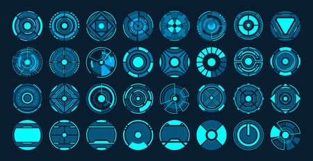 32 Circle futuristic interface hud vector design. Ilustração