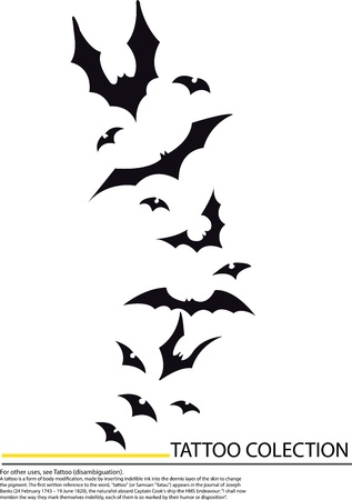 tattoo cartoon bats, in pencil drawing style. Vector