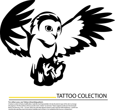 Illlustration of an owl flying symbol,tattoo design Vector