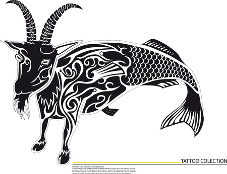 goat with fish,Illustration of Aries the ram zodiac horoscope Vector