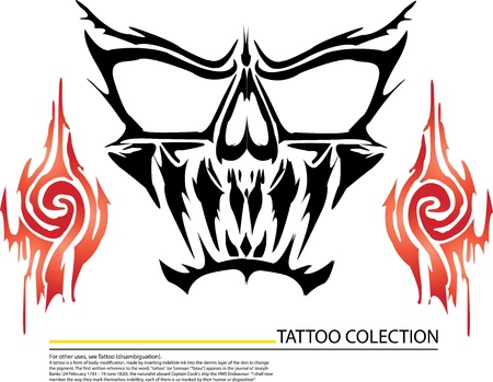ghost tattoo skull with fireon white background Vector