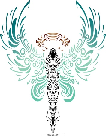tattoo character of angel and devil arm wrestling Vector