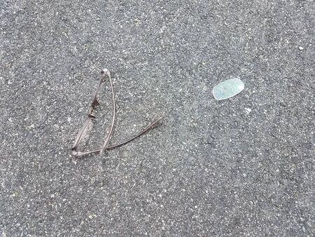 broken glasses on asphalt Reklamní fotografie