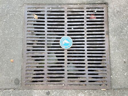 metal grate: metal grate with no dumping sign