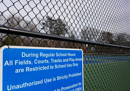 blue during regular school hours courts restricted to school use only warning