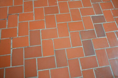 red rectangle brick tile floor or ground or tessellation