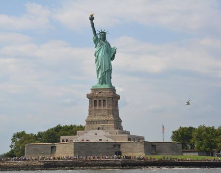 statue of liberty with people and seagull bird