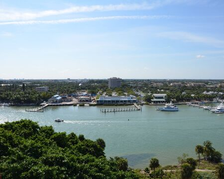 view of boats and river water from lighthouse in Florida