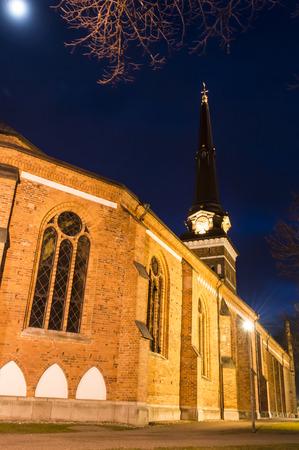 Vasteras Cathedral in winter evening, Sweden photo