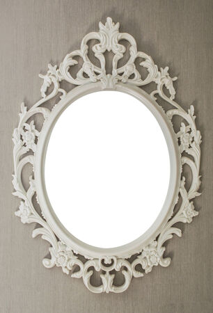 White vintage frame isolated on gray background