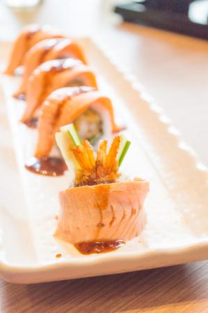 philadelphia roll: Raw fresh Salmon sushi roll maki - japanese food