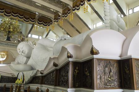 nirvana: The biggest white marble nirvana buddha sleep at Wat Pa Phu Kon, Udon Thani Thailand
