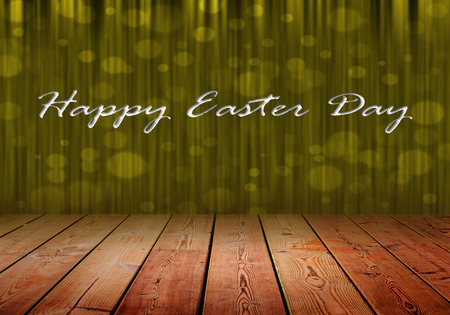 Happy Easter Dau On Gold Stage Curtain Background And Wood Floor