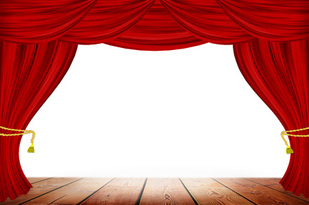 red stage curtain: Red curtains on white wall background