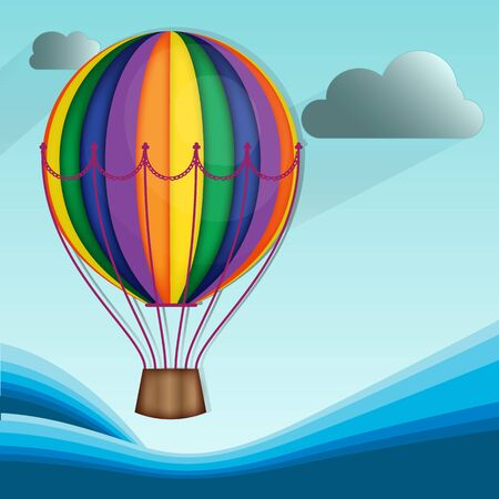 cloud drift: Hot Air Balloon and Clouds with sea