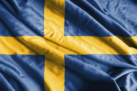 bandera suecia: Ondeando la bandera de Suecia