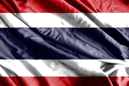 thai flag: Waving colorful Thai flag