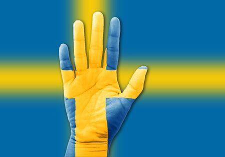 bandera suecia: Pintura de la bandera nacional de Suecia con la mano con la mano para alegr�a de su deporte nacional Foto de archivo
