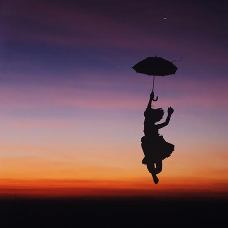 reveille: Umbrella little girl jumping and sunset silhouette.