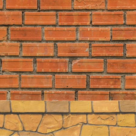 old brick wall: Brick fence red brick texture background.