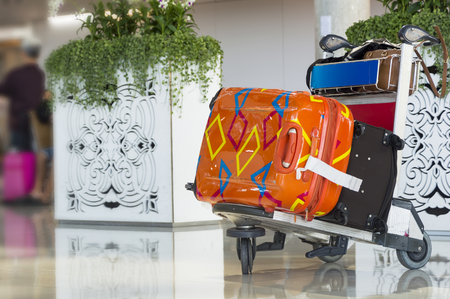 Airport luggage Trolley with suitcases.Travel concept.