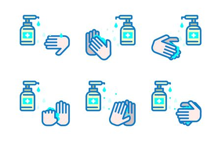 Washing hands icon Set.Cleaning Products Signs Collection.Vector Illustration.
