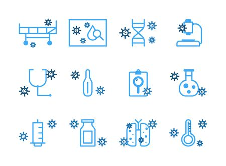 Virus and Disease Line Icons.Set of coronavirus icons, virus, ncov-2019, disease, sickness, illness.