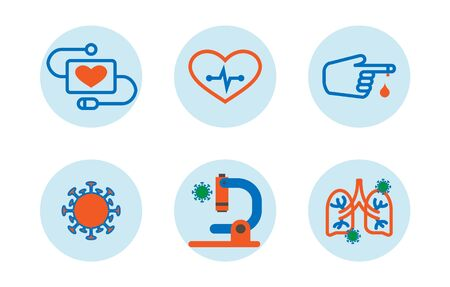 Virus covid 19 disease icons set style icon.