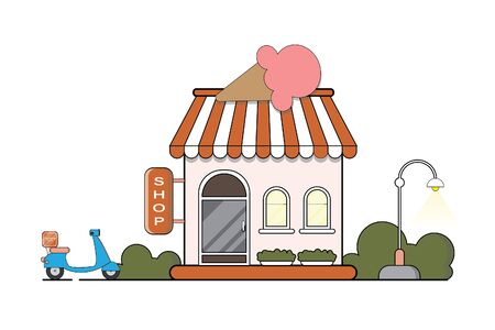 Food delivery. The restaurant building of ice cream.Vector flat illustration and icon set