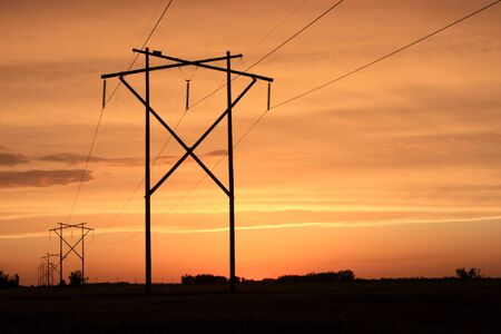 horrizon: a bright orange sunset with power lines