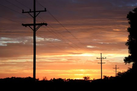telephone poles: a bright sunset with telephone poles.
