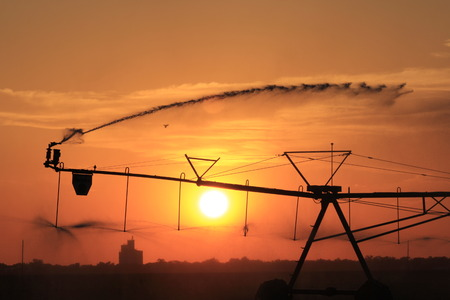 Kansas Irrigation System Sunset Silhouette