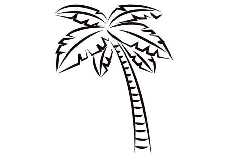 Coconut Tree For Black And White Image On A White Background Stock