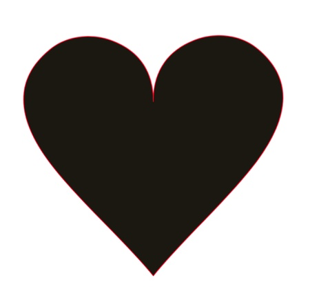 Heart shape for black color on a white background photo