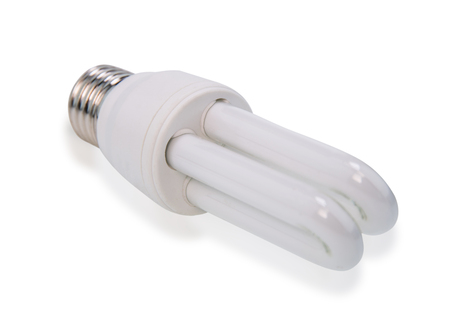 white energy saving bulb, Illuminated light bulb, CFL bulb, Realistic photo image on white background
