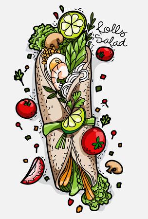 vegetables roll fast food meal shawarma flat cartoon illustration Stock Illustratie