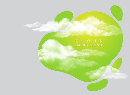 background with clouds on green sky 矢量图像