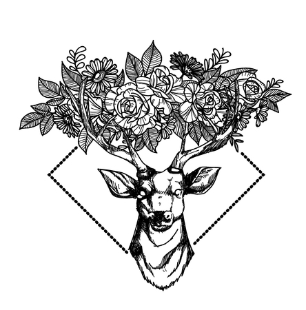 Tattoo art deer hand drawing and sketch black and white isolated on white background.