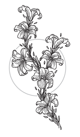 Tattoo art hand drawing and sketch black and white with line art illustration isolated on white background.