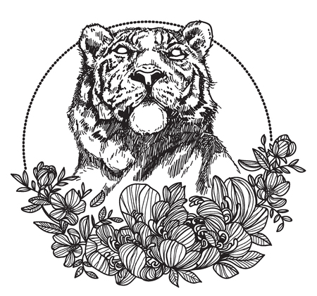 Tattoo art tiger hand drawing and sketch black and white with line art illustration isolated on white background.