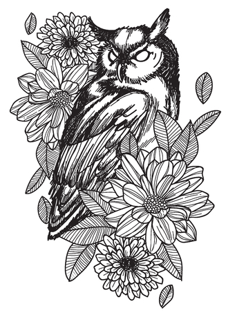 Tattoo art bird hand drawing and sketch black and white with line art illustration isolated on white background. Stock Illustratie