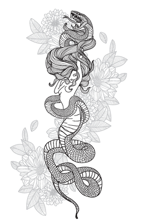 Tattoo art hand drawing woman and snake black and white with line art illustration isolated on white background. Stock Illustratie