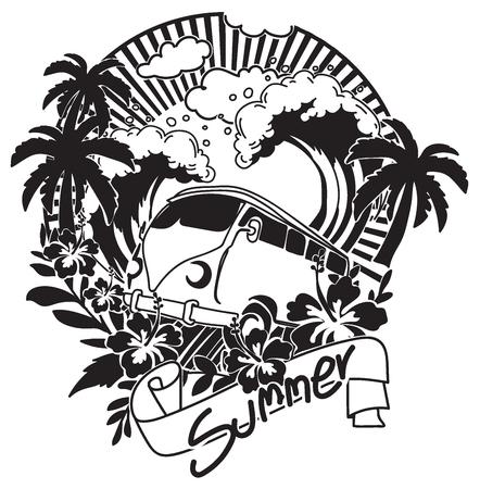 Main d'été dessin noir et blanc avec illustration d'art en ligne isolé sur fond blanc.