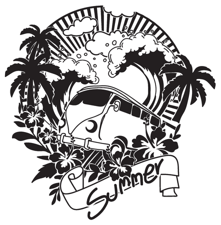 Sommerhandzeichnung schwarz und weiß mit Strichzeichnungen isoliert auf weißem Hintergrund.